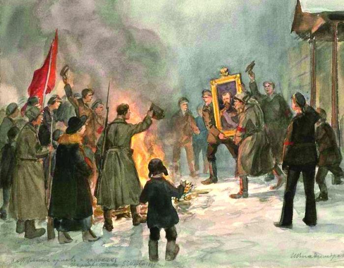Сжигание орлов и царских портретов,1919 год, Иван Владимиров