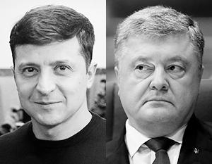 Комик Владимир Зеленский (слева) и президент-кондитер Петр Порошенко поборются за гетманскую булаву