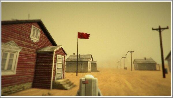Американский астронавт неожиданно обнаруживает советский город на исследуемой планете. Скриншот из компьютерной игры Lifeless Planet.