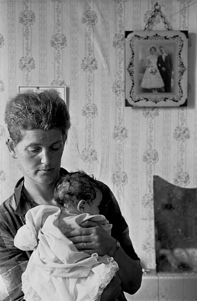 Mother baby and wedding photograph, slum property Balsall Heath 1969