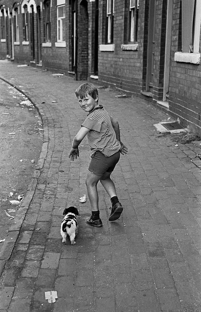 Boy with pet dog Winson Green 1971