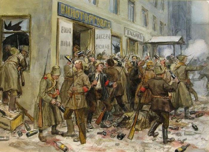 «Разгром винной лавки». (1917).  Автор: Иван Владимиров.