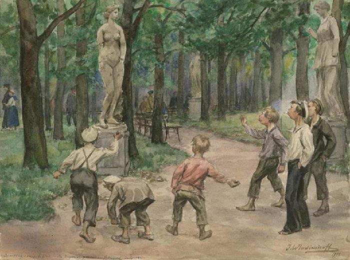 Развлечения подростков в императорском саду Петрограда. (1921). Автор: Иван Владимиров.