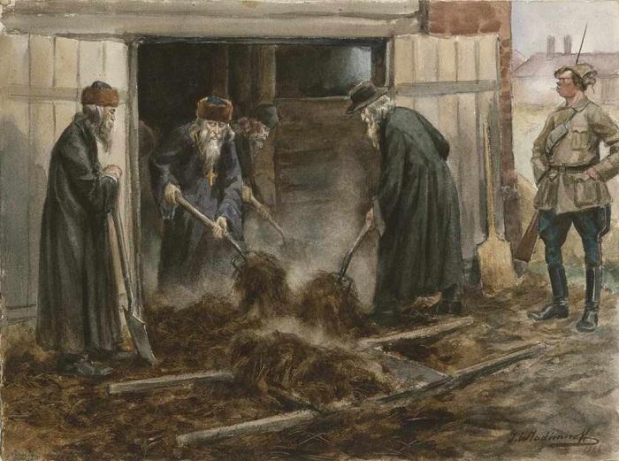 Русское духовенство на принудительных работах. (1919).  Автор: Иван Владимиров.
