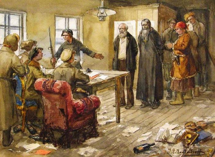 Допрос в комитете бедноты.  Автор: Иван Владимиров.