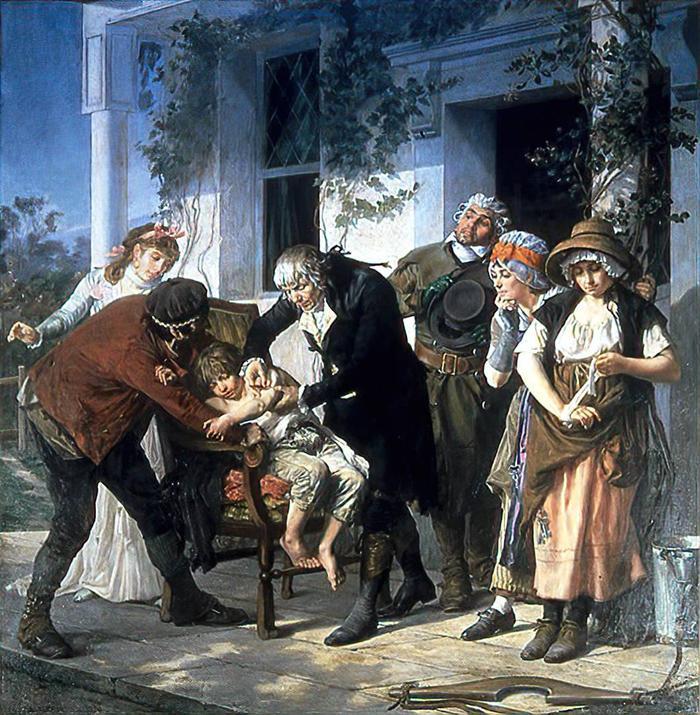 Гастон Мелинг. Доктор Эдвард Дженнер проводит первую вакцинацию от оспы в 1796 году. 1879