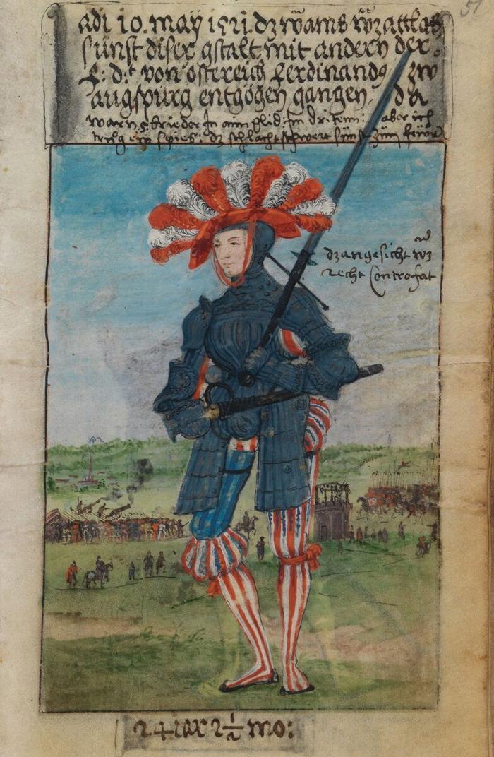 Маттеус Шварц в головном уборе c перьями 10 мая 1521 года, изображение из его собственной Книги модной одежды.