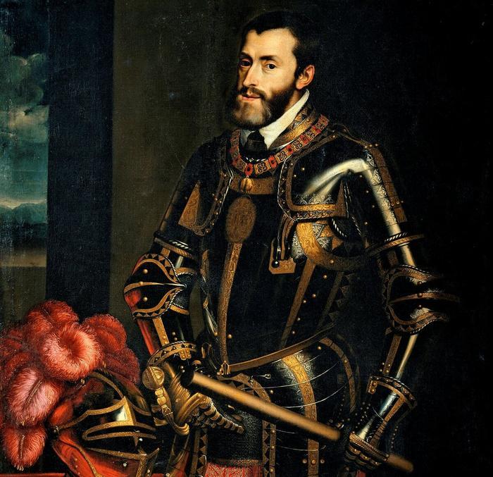 Император Карл V даже стилизовал свой военный шлем огромными красными перьями.