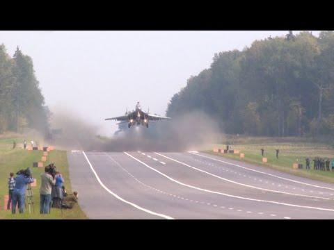 Посадка самолетов МиГ-29 и Су-25 на АУД. Взлет на боевое ...