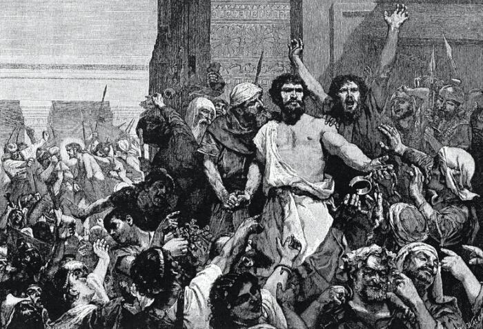 Библейский разбойник Варавва считается бунтарем против римского правления. Теоретически он мог быть сикарием. Иллюстрация из Библии под редакцией Charles F. Horne и Julius A. Bewer 1910 года / Источник: wikipedia.org