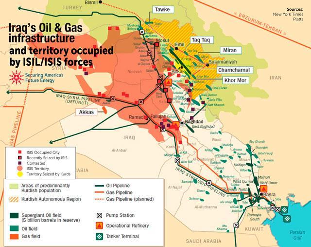 Карта Нефтяная и газовая инфраструктура Ирака и захваченные ИГИЛ территории
