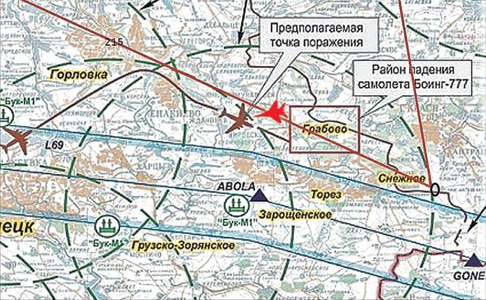 Коричневой линией обозначена траектория полета «Боинга-777». А красной линией журналисты обозначили маршрут полета летчика Волошина