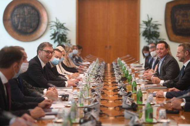 Переговоры Александра Вучича и Ричарда Гренелла. 22 сентября 2020 года, Белград