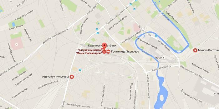 станция Минск-Пассажирский на карте города