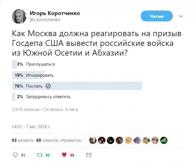 Как Москва должна реагировать на призыв Госдепа США вывести российские войска из Южной Осетии и Абхазии?