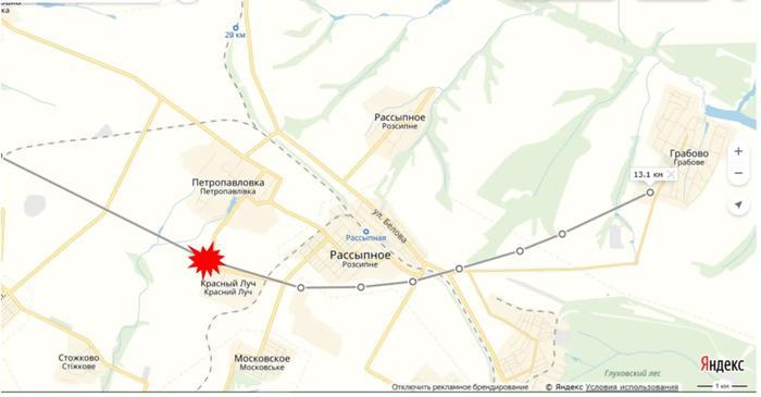Фото №2. Карта траектории полёта и падения МН17
