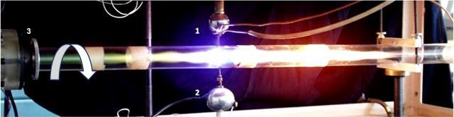 Рис. 2. Один из вариантов реализации LENR в вихревом реакторе. 1 — ВЧ-электрод, 2 — земляной электрод-инжектор пропана, 3 — завихритель-инжектор аргона