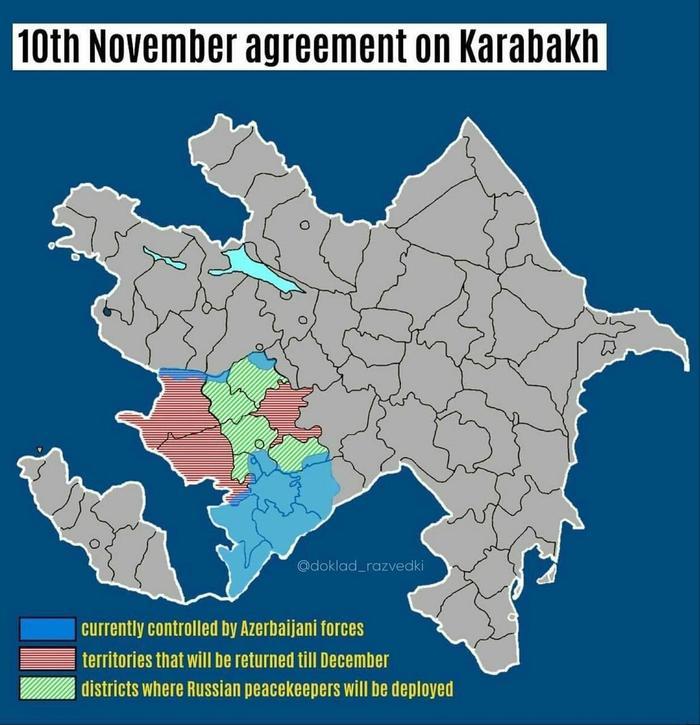 Синий цвет - контролируется Азербайджаном. Красный цвет - территория, которая должна быть возвращена Арменией Азербайджану до декабря 2020 г. Зеленый цвет - Нагорный Карабах, где будут размещены российские миротворческие силы. Источник: https://avatars.mds.yandex.net/get-zen_doc/1857055/pub_5faaa96b3b7ff25f30cd58e2_5faab0ffea8df61cb69dd282/scale_600