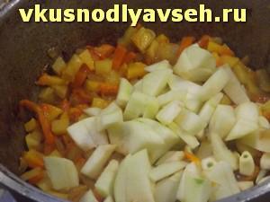 добавить яблоко и чеснок