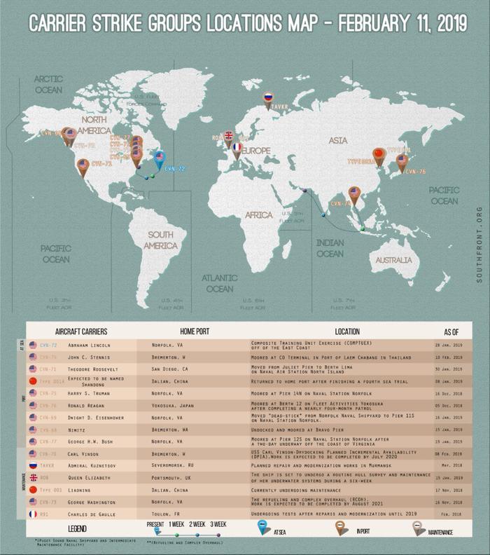 Места расположения авианосцев США, Великобритании, Китая и России - 11 февраля 2019 г.