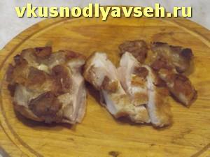 куриное мясо нарезать пластинками