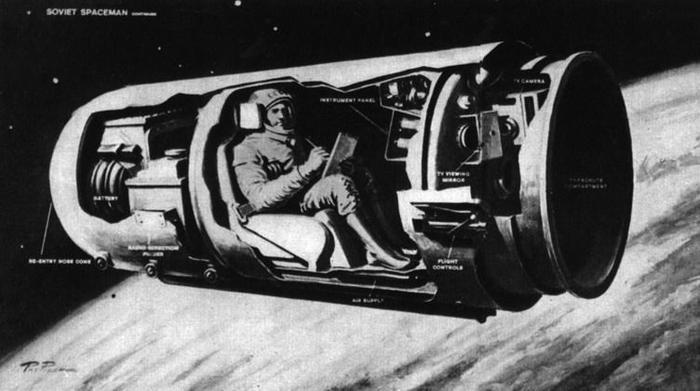 Космический корабль «Восток». Иллюстрация из книги «Утро космической эры» на основе реконструкции журнала «Life» (1961 год)