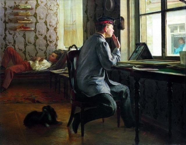 Илья Репин. Приготовление к экзамену. 1864