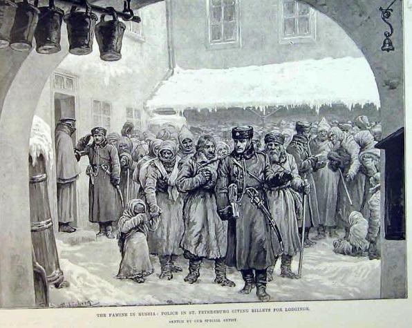 Толпы голодающих из деревни добрались до Петербурга. Около ночлежки