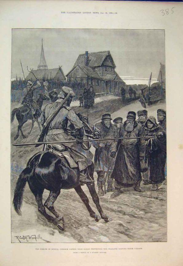 Казаки не дают крестьянам покинуть деревню чтобы пойти с сумой