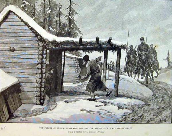 Урядник с казаками въезжают в деревню в поисках спрятанного зерна
