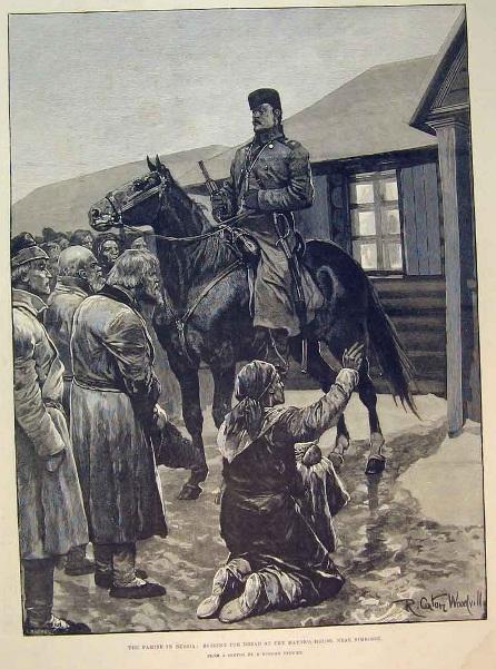 Голод в России. В голодающую деревню введены войска. Крестьянка-татарка на коленях умоляет урядника