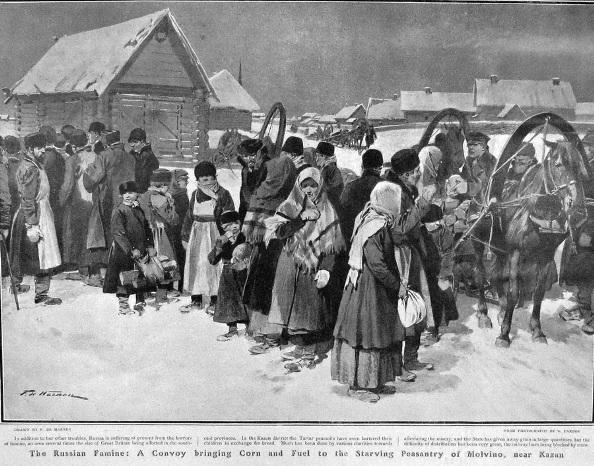 Раздача кукурузы голодающим, д. Молвино, неподалёку от Казани