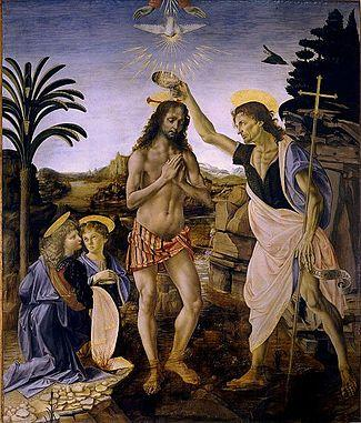 Картинки по запросу крещение христа картина леонардо да винчи фото