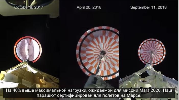 В трёх стратосферных испытаниях небо за парашютом - чёрное.