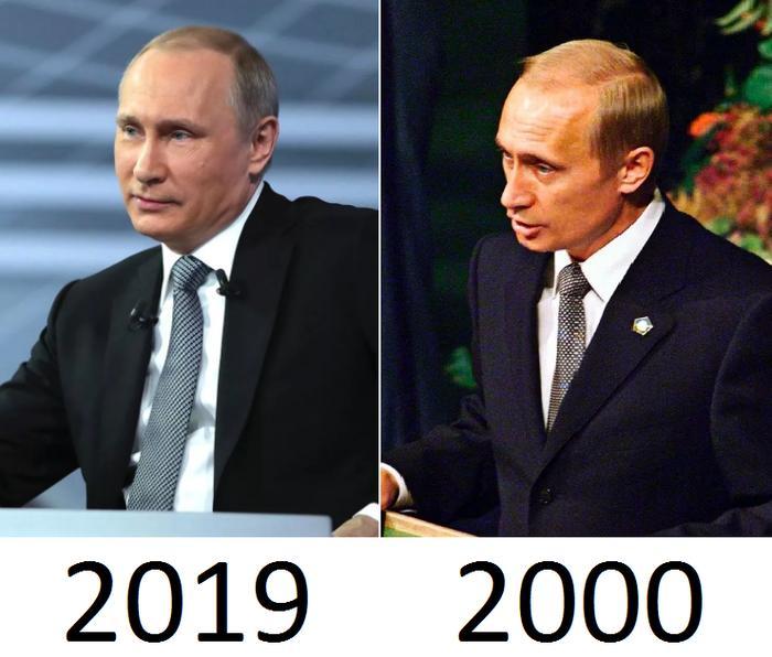 Владимир Путин в разные годы