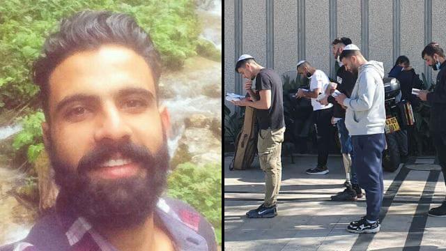 מתפללים מחוץ לבית החולים שיבא לשלומו של איציק סעידיאן