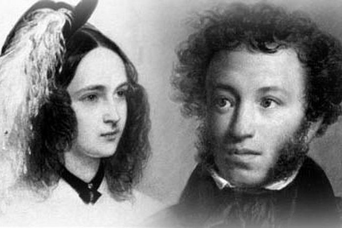 Супруги Наталья Николаевна Гончарова и Александр Сергеевич Пушкин