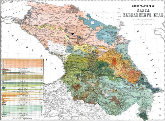 Этническая карта Кавказа до 1917 года.