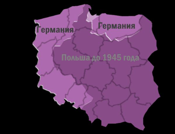 Территории Польши, которые до 1945 года принадлежали Германии