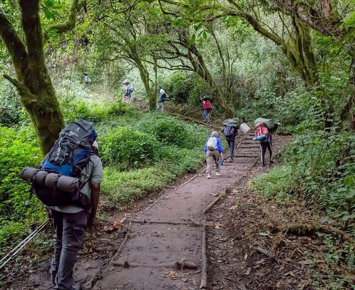 Туристы возле горы Килиманджаро