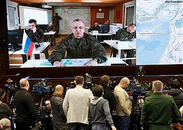 НЦУО РФ. Начальник Центра генерал-лейтенант С.В. Кураленко докладывает о выполнении перемирия в Сирии. 27 февраля 2016 года