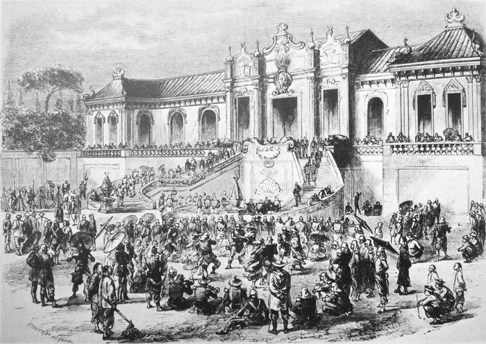 """Картинки по запросу британская гравюра «Looting of the Old Summer Palace by Anglo-French forces in 1860 during the Second Opium War."""""""