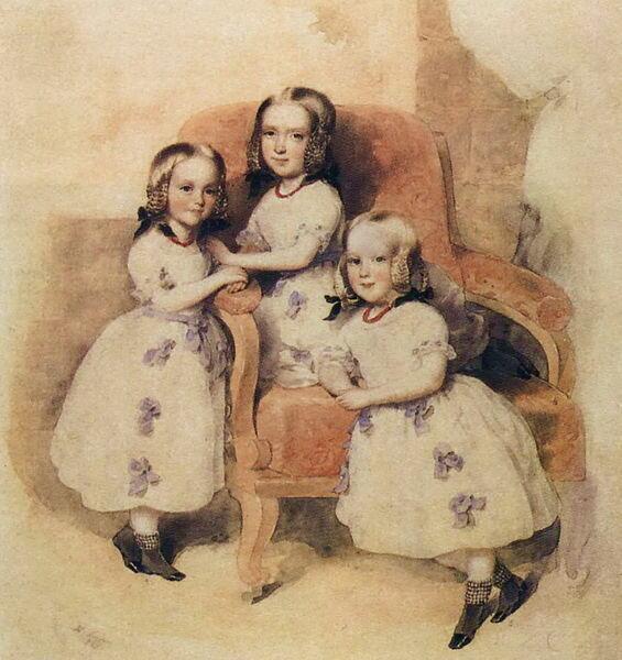 Дочери Е. Н. Дантес де Геккерн. Слева направо: Леони, Матильда, Берта. Акварель Леопольда Фишера, 1843 г.