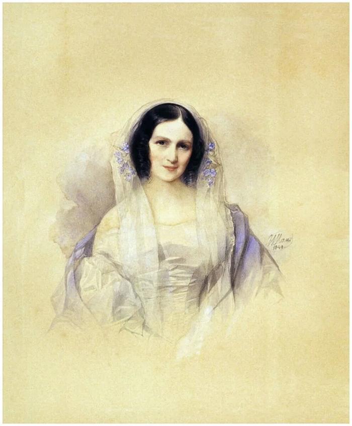 В. И. Гау, портрет Гончаровой Натальи Ивановны, матери знаменитых сестёр, тёщи и Пушкина, и Дантеса, 1840 г.