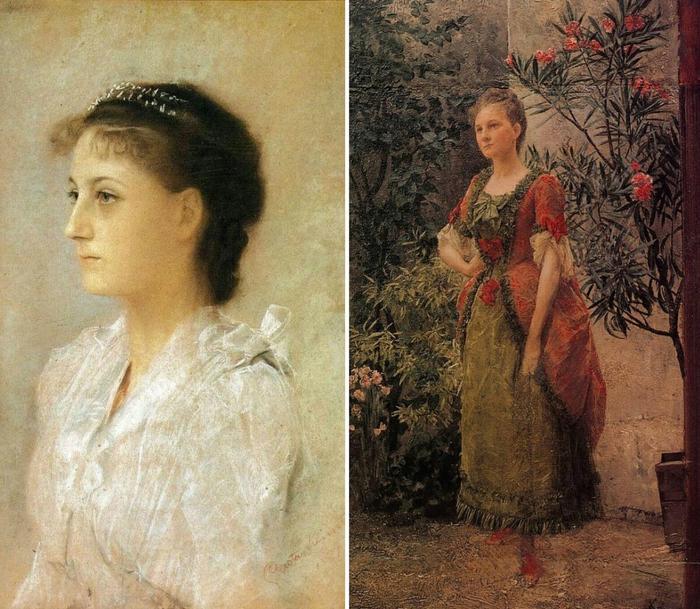 Эмилия Флёге в 1891 и в 1893 годах, портреты работы Климта