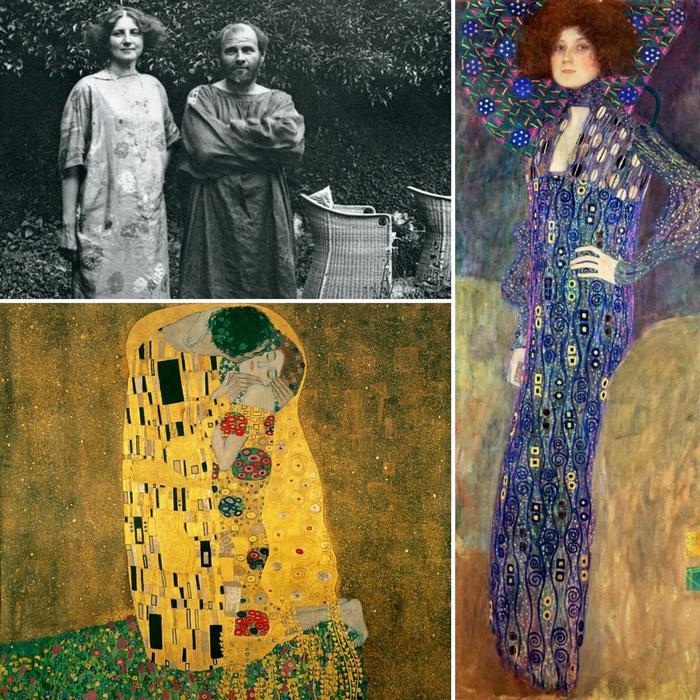 Фото Климта и Эмилии, портрет Эмилии 1902 года и знаменитый «Поцелуй», написанный в 1907-1908 годах, где пара запечатлена вместе