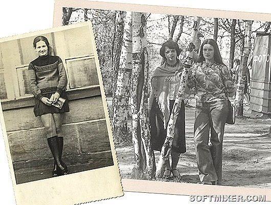 ffa52b3abeae На первой фотографии 1975 год, я ученица десятого класса. На мне  красновато-коричневые сапоги-чулки и неприлично короткая юбка с двумя  бантовыми складками, ...