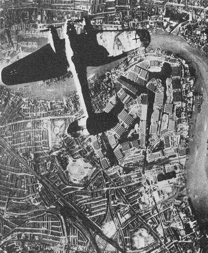 Heinkel He 111 над доками Лондона, 1941 год. Взято из свободных источников.