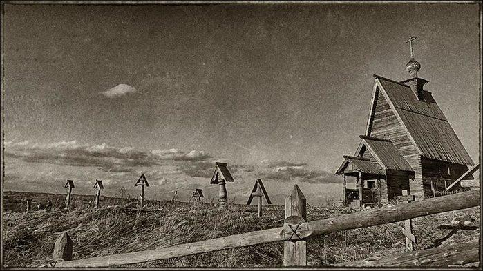 Гора Левитана в Плёсе. Деревянная церковь