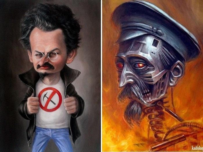 «Троцкий». «Железный Феликс».  Карикатуры и шаржи от художника Дениса Лопатина